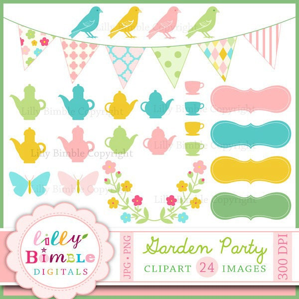 Vintage Tea Party Clip Art Garden party clipart for cards