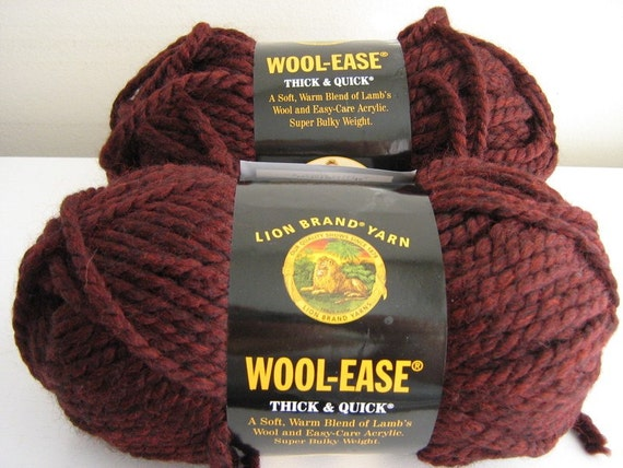 Destash Lion Brand Wool Ease Thick and Quick Yarn- Claret