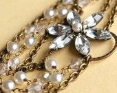 Vintage Rhinestone Flower & Pearl Bridal Necklace, Bronze Statement Bridal Necklace, Crystal Rhinestone Wedding Necklace, GLITTERING BLOSSOM