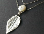 Sterling Silver Leaf Necklace, Coin Pearl Charm, Pearl Necklace, Leaf Necklace, Double Strand Bridesmaids Necklace, WINTER LEAF