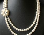 Pearl Flower Bridal Necklace, Retro Wedding Jewelry, Ivory White Swarovski Pearl Wedding Jewelry, Vintage Style Bridal Jewelry, MARIE