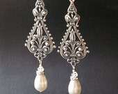 Vintage Bridal Earrings, Silver Filigree Earrings, Antiqued Silver Chandelier Earrings, Ivory White Pearl Chandelier Earrings, VIVIENNE