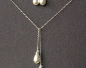 Teardrop Pearl Bridal Jewelry Set, Wedding Jewelry Set, Swarovski Pearl Lariat Necklace & Earrings SET, Sterling Silver Bridal Necklace
