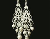 Pearl Chandelier Bridal Earrings, Silver Filigree Dangly Earrings, Chandelier Wedding Earrings, Vintage Style Bridal Jewelry, COLETTE