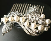 Wedding Hair Comb, Bridal Hair Accessories, Pearl & Crystal Bridal Hair Comb, Art Deco Wedding Hair Accessories,Vintage Glamour, BETTE