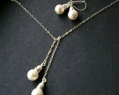 FIVE SETS of Classic Swarovski Pearl, Rhinestone & Sterling Silver Lariat Necklace and Earrings