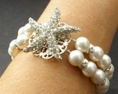 Bridal Starfish Bracelet, Pearl Wedding Bridal Bracelet, Destination Beach Wedding Jewelry, Crystal Starfish Bracelet, SEA MAIDEN
