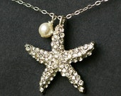 Set of FIVE x Rhinestone Starfish Pendant Necklaces, Swarovski Pearl Bridesmaids Necklaces, SEA MAIDEN Collection