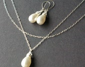 Wedding Jewelry, Bridal Necklace and Earrings SET, Swarovski Pearl Necklace, Sterling Silver Earrings, Bridal Party Jewelry, SNOW DROP