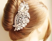 Crystal Wedding Hair Comb, Vintage Bridal Hair Accessories, Bridal Hair Comb, French Twist Wedding Hair Comb, Statement Hairpiece, GENOA