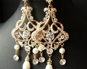 GOLD Chandelier Bridal Wedding Earrings, Statement Gold Bridal Earrings, Vintage Style Rhinestone Earrings, Pearl Drop Earrings, ALESSANDRA