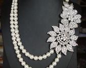 Bridal Statement Necklace, Crystal Wedding Necklace, Vintage Wedding Jewelry, Great Gatsby Jewelry, Art Deco Wedding Jewelry, CHANTAL