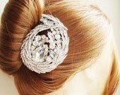 Rhinestone Bridal Hair Comb, Crystal Art Deco Hair Comb, Statement Wedding Hair Accessories, ROMY