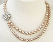 Champagne Pearl Bridal Necklace, Champagne Wedding Necklace, Great Gatsby, Vintage Bridal Jewelry, Art Deco Wedding Jewelry, CELINE