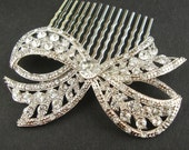 Bridal Hair Comb, Vintage Retro Wedding Hair Comb, Wedding Hair Accessories, Crystal Bow, Art Deco Bridal Hair Piece, LOLA