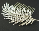 Crystal Leaf Bridal Hair Comb, Bridal Hairpiece, Wedding Hair Accessories, Silver Leaves, Art Deco Hair Comb, Wedding Headpiece