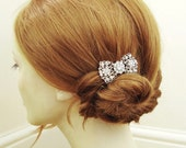 Vintage Bridal Hair Comb, Art Deco Bow Hair Comb, Old Hollywood Crystal Comb, Retro Wedding Hair Accessory,  BETSY