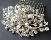 Victorian Style Pearl Rhinestone Bridal Hair Comb, Vintage Bridal Hair Piece, Bridal Hair Accessories, Crystal Wedding Hair Comb, Marlena
