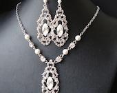 Bridal Jewelry SET, Wedding Necklace and Earrings, Crystal Bridal Necklace & Earrings, Art Deco Wedding Jewelry, Great Gatsby, Francesca