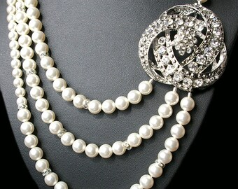 Art Deco Bridal Necklace, Statement Wedding Necklace, Bridal Jewelry, Ivory Pearl Wedding Jewelry, Great Gatbsy Jewelry, LOIS
