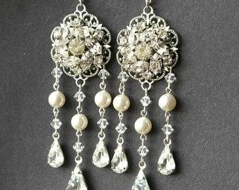 Bridal Chandelier Earrings, Statement Wedding Earrings, Long Bridal Earrings, Art Deco Wedding Jewelry, Crystal Pearl Bridal Jewelry, CELINE