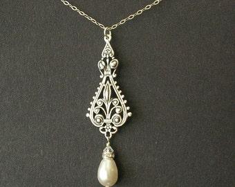 Antique Silver Filigree Bridal Necklace, Vintage Wedding Necklace, Sterling Silver Chain, Teardrop Pearl, Art Deco Bridal Necklace, VIVIENNE