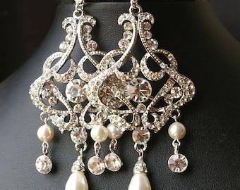 Chandelier Bridal Earrings, Sterling SILVER Statement Wedding Earrings, Crystal Chandelier Earrings, CZ Teardrop Earrings, ALESSANDRA
