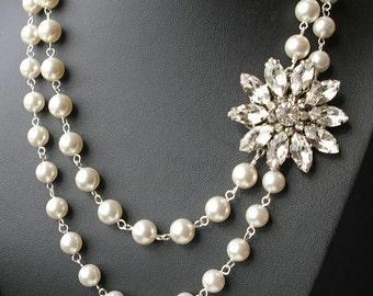 Vintage Wedding Necklace, Crystal Bridal Jewelry, Art Deco Bridal Necklace, Pearl Necklace, Crystal Flower Bridal Necklace, FOREVER in BLOOM