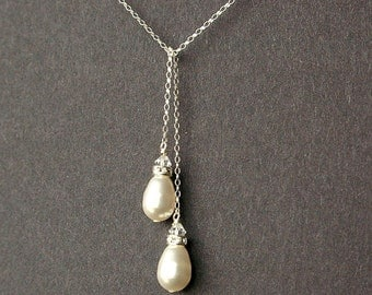 Teardrop Pearl Necklace, Simple Bridal Necklace, Sterling Silver Lariat Necklace, Classic Wedding Jewelry, Teardrop Pearl Lariat, SNOW DROPS