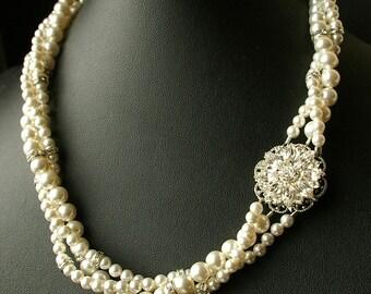 Pearl Wedding Necklace, Twisted Pearl Bridal Necklace, Vintage Bridal Jewelry, Swarovski Pearl Wedding Jewelry, LILITH