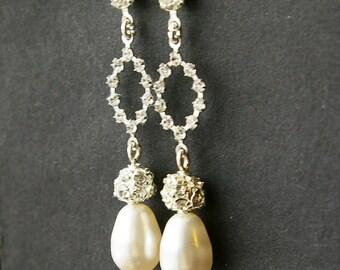 Swarovski Crystal and Pearl Bridal Wedding Earrings, Ivory White Pearl Drop Earrings, Vintage Style Rhinestone Stud Earrings, HOPE