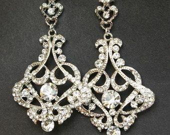 Crystal Chandelier Bridal Earrings, Vintage Wedding Earrings, Statement Bridal Earrings, Art Deco Wedding Jewelry, CRESSIDA