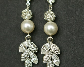 Vintage Style Bridal Earrings, Long Filigree Leaf Rhinestone & Pearl Wedding Earrings, Old Hollywood Bridal Jewelry, EVA