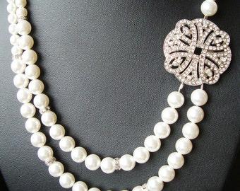 Bridal Necklace, Art Deco Wedding Necklace, Crystal Wedding Necklace, Ivory White Pearl Bridal Jewelry, ARDEN