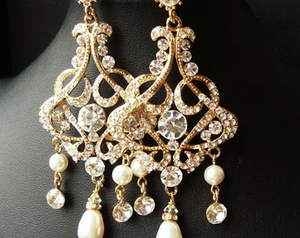 GOLD Chandelier Bridal Wedding Earrings, Statement Gold Bridal Earrings, Vintage Style Rhinestone Earrings, Pearl Drop Earrings, ALESSANDRA