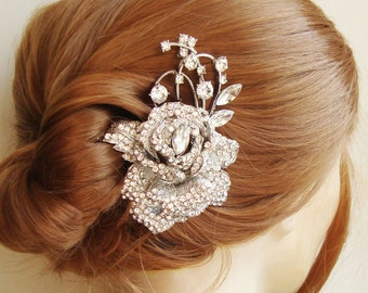 Crystal Rose Bridal Hair Comb, Bridal Wedding Hair Accessories, Vintage Style Wedding Hair Comb, Flower Bridal Headpiece, ROSEMARIE