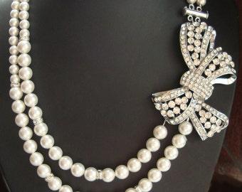 Art Deco Bridal Necklace, Crystal Bow Wedding Necklace, Vintage Wedding Jewelry, Pearl Bridal Jewelry, Statement Wedding Necklace, LOLA