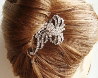 Bridal Hair Comb, Vintage Wedding Hair Piece, Crystal Comb, Wedding Hair Comb, Silver Filigree Comb, REINA
