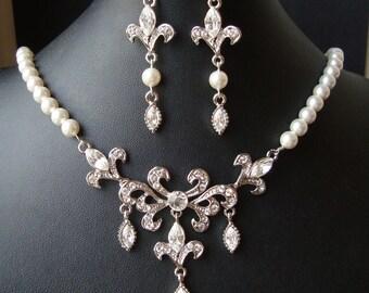 Bridal Jewelry SET, Wedding Necklace & Earrings Set, Fleur De Lis Wedding Jewelry, Vintage Bridal Jewelry, Art Deco Wedding Jewelry, REESE