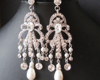 Art Deco Style Statement Wedding Chandelier Earrings, Vintage Style Chandelier Bridal Earrings, Long Pearl Tear Drop Earrings, OCTAVIA