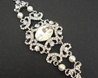 Vintage Style Wedding Bridal Bracelet, Rhinestone Victorian Style Wedding Bracelet, Pearl and Rhinestone Bracelet, GUINEVERE