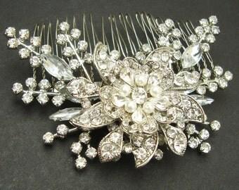 Bridal Hair Comb, Vintage Style Wedding Comb, Bridal Hair Accessories, Art Deco Crystal Hair Comb, Bridal Head Piece, STARGAZER III