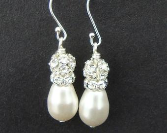 Ivory White Pearl & Rhinestone Bridal Earrings, STERLING SILVER Teardrop Pearl Earrings, Modern Vintage Pearl Wedding Earrings, CLASSIC