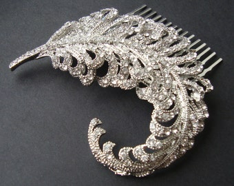 Bridal Hair Comb, Crystal Feather Hair Piece, Art Deco Rhinestone Hair Comb, Bridal Hair Accessories, Wedding Headpiece, Curled Feather