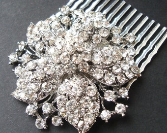 Vintage Style Wedding Hair Comb, Art Deco Style Rhinestone Flower Wedding Bridal Hair Comb, Crystal Bridal Hair Accessories, MISCHA
