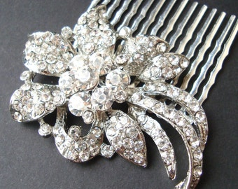 HALF PRICE Sale- Crystal Bridal Hair Comb, Art Deco Hair Comb, Vintage Wedding Hair Comb, Great Gatsby Wedding Hair Accessories, LINDSEY