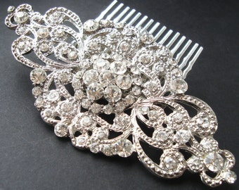 Vintage Style Bridal Hair Comb, Wedding Bridal Hair Accessories, Art Deco Wedding Hair Comb, Statement Bridal Headpiece, ANDORRA