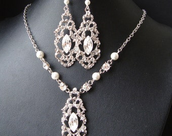 Bridal Jewelry SET, Wedding Necklace and Earrings, Crystal Bridal Necklace & Earrings, Art Deco Wedding Jewelry, Great Gatsby, Francesca