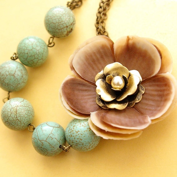 Julia, Vintage Latte Flower and Turquoise Necklace