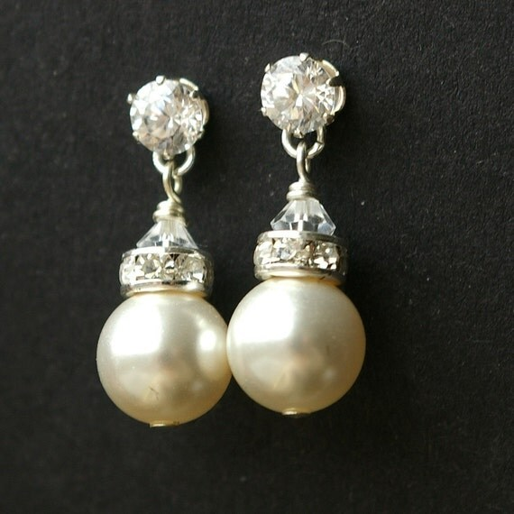 Classic, Rhinestone and Pearl Sterling Silver Earrings